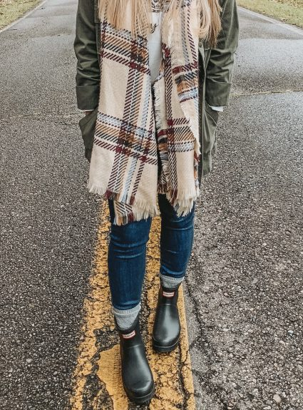 My Latest Obsession: Blanket Scarves & Hunter Boots